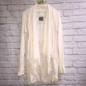 TINY Anthropologie Cream Waterfall Cardigan NWT
